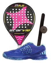 PACK STAR VIE R9.2 DRS CARBON SOFT FUCSIA 2017 Y ZAPATILLAS WILSON KAOS WOMAN