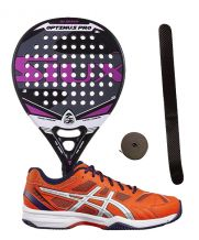 PACK SIUX OPTIMUS PRO FUCSIA Y ZAPATILLAS ASICS GEL PADEL EXCLUSIVE 4 SG