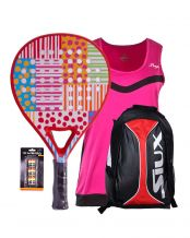 PACK AGATHA DOTS AND STRIPES Y MOCHILA SIUX TRAIL ROJO