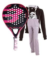 PACK BULLPADEL KATA LIGHT, SUDADERA SIUX BELICE Y PANTALON GRIS
