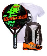 PACK BABOLAT DEFIANCE CARBON Y ZAPATILLAS SOFTEE WINNER 1.0 NARANJA