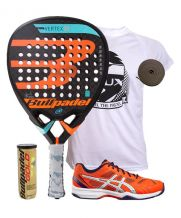PACK BULLPADEL VERTEX 2 2018 Y ZAPATILLAS ASICS GEL PADEL EXCLUSIVE 4SG NARANJA