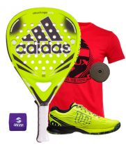 PACK ADIDAS NITROCHARGE ATTK Y ZAPATILLAS WILSON KAOS SAFETY AMARILLO