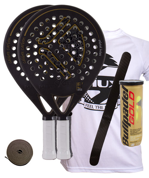 PACK 2 PALAS KAITT CALIBRE 2016 Y BOLAS BULLPADEL GOLD