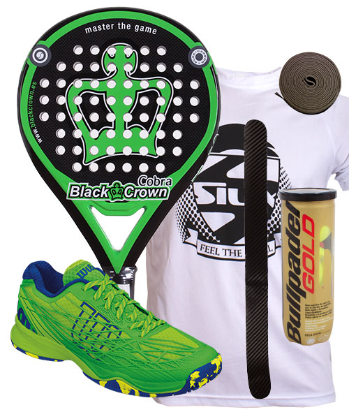 PACK BLACK CROWN COBRA Y ZAPATILLAS WILSON KAOS CLAY