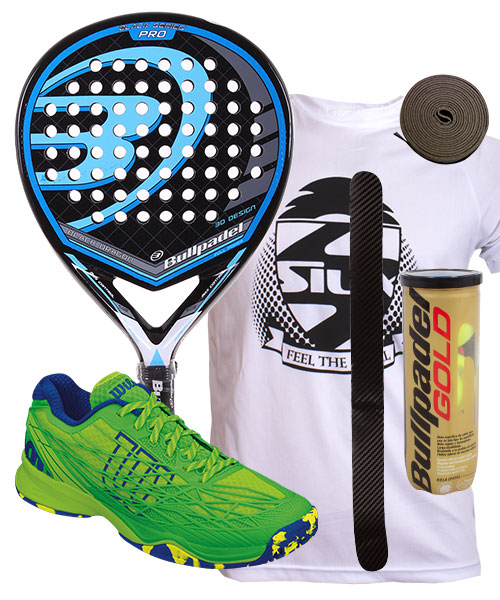PACK BULLPADEL BLACK DRAGON 2015 Y ZAPATILLAS WILSON KAOS CLAY COURT