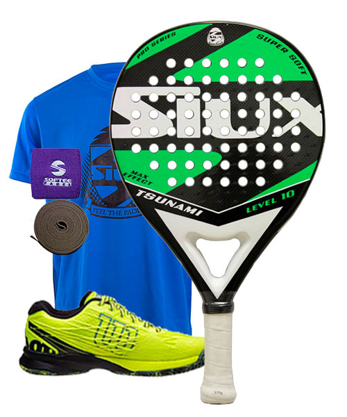 PACK SIUX TSUNAMI VERDE Y ZAPATILLAS WILSON KAOS SAFETY AMARILLO