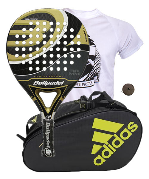 PACK BULLPADEL GOLD EDITION Y PALETERO ADIDAS CONTROL CRB NEGRO LIMA