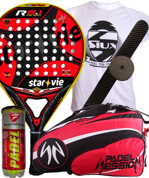 PACK STAR VIE R 8.1 CARBON 2014 Y PALETERO PADEL SESSION