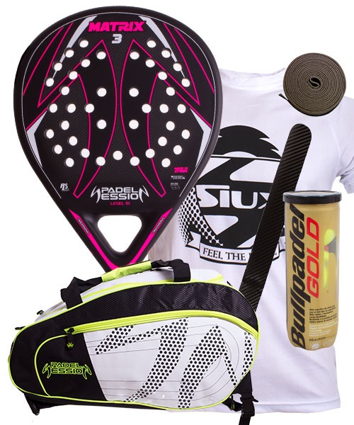 PACK PADEL SESSION MATRIX 3 FUCSIA Y PALETERO MATRIX 4