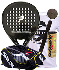 PACK POWER PADEL BLACK BRILLANTE Y PALETERO SIUX
