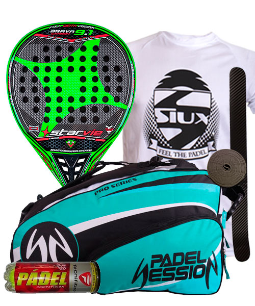 PACK STAR VIE BRAVA 9.1 DRS CARBON 2015 Y PALETERO PADEL SESSION