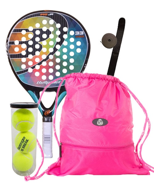 PACK BULLPADEL IRIS JUNIOR Y GYMSACK MOCHILA FUCSIA