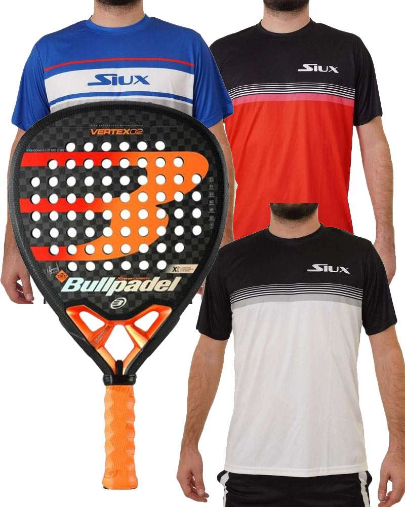 PACK BULLPADEL VERTEX 02 Y 3 CAMISETAS SIUX