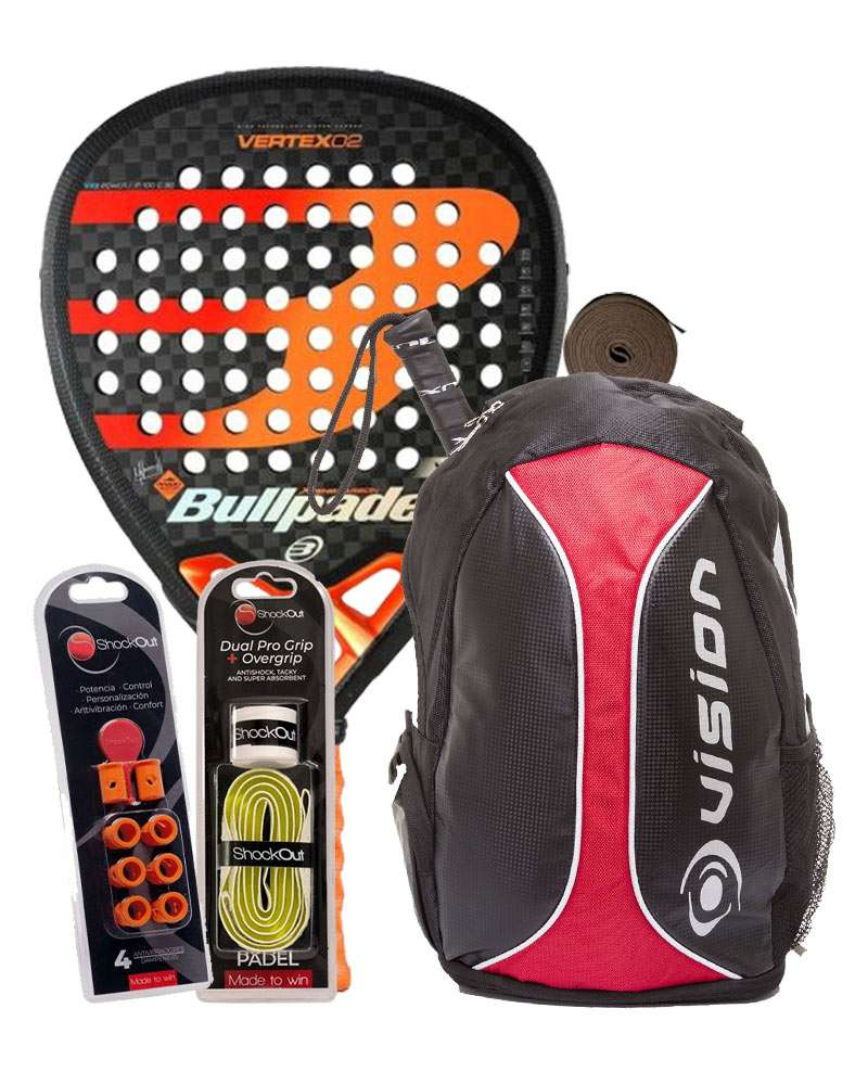 PACK BULLPADEL VERTEX 02, MOCHILA VISION, SHOCKOUT DUAL Y OVERGRIP